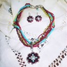 Turquoise & Red Multi-strand Necklace & Earring set Western Style