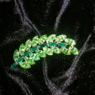 Vintage Brooch Leaf Green Crystal Stones