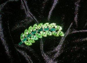 Vintage Brooch Leaf Green Crystal Stones