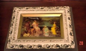 Antique Reverse Painting with Carved Wood Double Frame & Concave Glass
