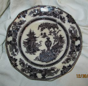 Antique Jeddo,W. Adams & Sons ,  Mulberry   Dinner Plate