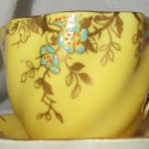 Antique Coalport Demitasse Cup & Saucer Yellow Enamel & Gold
