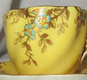 Antique Coalport Demitasse Cup & Saucer Yellow Enamel & Gold