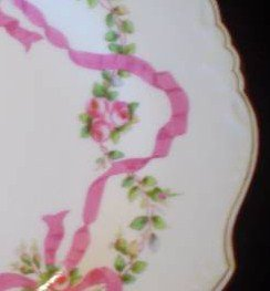 Antique Minton Plates Pink Ribbons & Roses Pattern Set of 2