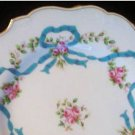 Antique Minton Plates Blue Ribbons & Roses Pattern Set of 2