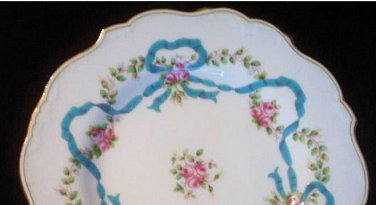 SOLD Antique Minton Plates Blue Ribbons & Roses Pattern Set of 2