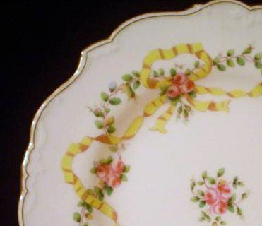 Antique Minton Plates Yellow Ribbons & Roses Pattern Set of 2