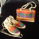 Vintage Andre Assous  SET Silk  Red Multi-color Espadrilles with Matching Purse