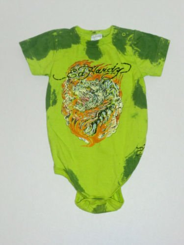 Don Ed Hardy Full Tiger Tie Dye Green Oneside 6 12 mos