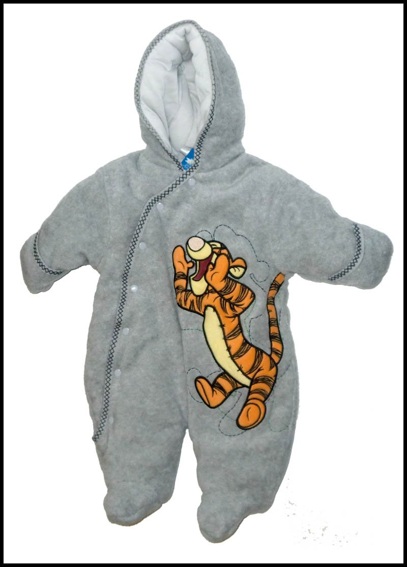 New NWT Grey Shouting Tigger Snowsuit Bunting 3 6 Mos