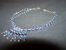 Hematite & Light Blue Tassle Choker