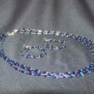 Purple multi-strand long necklace set