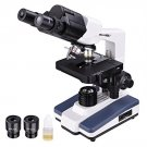 AW 40X-2500X LED Lab Binocular Compound Science Microscope with Double Layer Mechanical Stage
