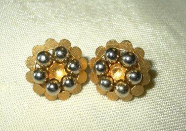 Vintage Kramer Goldtone Beaded Earrings