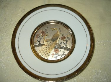 The Art Of Chokin 24K Gold Trimmed Plate-Peacock