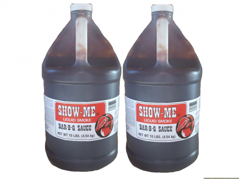 Two x One Gallon Show-Me Liquid Smoke Bar-B-Que Sauce 10 lbs bottles