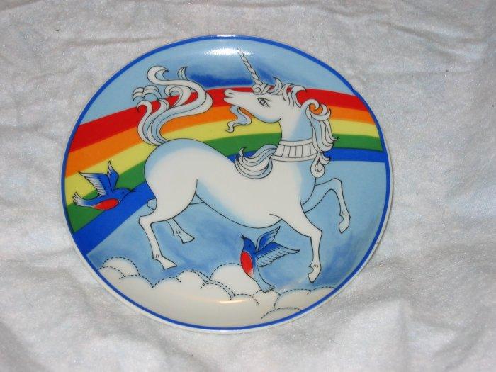 vintage unicorn and rainbow plate #4 FREE US SHIPPING