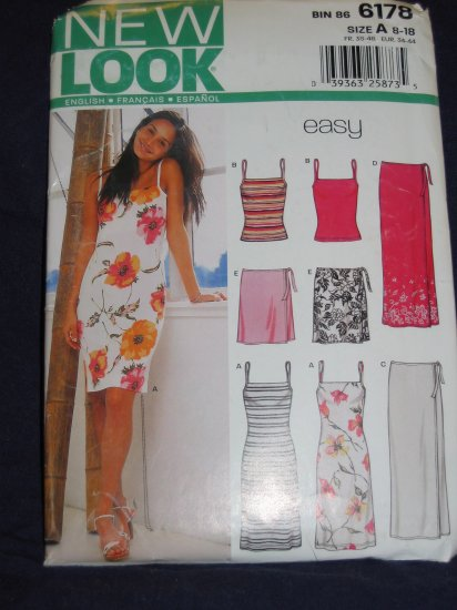 New Look pattern 6178 Size A 8-18 uncut out of print pattern FREE US SHIPPING
