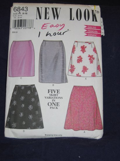New Look pattern 6843 size A 8-18 uncut pattern out of print FREE US SHIPPING