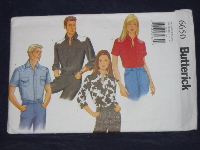 Butterick pattern 6650 unisex all sizes included uncut rockabilly western FREE US SHIPPING