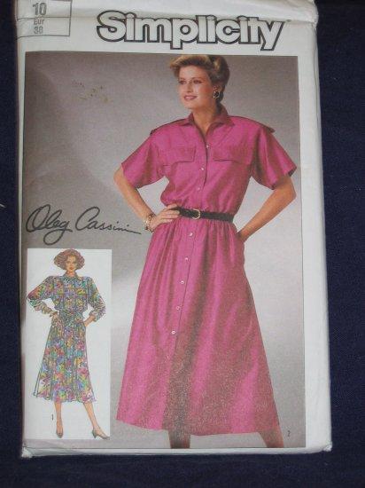 1986 Simplicity pattern 7367 Oleg Cassini Shirt Dress Size 10 uncut FREE US SHIPPING