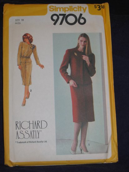 1980 Richard Assatly Size 10 Simplicity pattern number 9706 uncut out of print FREE US SHIPPING