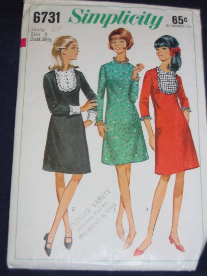 1966 Simplicity 6731 Jr size 9 OOP another great rockabilly style! FREE US SHIPPING