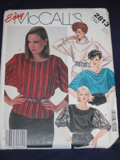 1986 McCalls 2813 Size Small raglan sleeve blouse uncut Out of Print FREE US SHIPPING