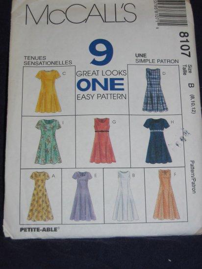 McCalls 8107 9 dresses Size B 8/10/12 uncut pattern FREE US SHIPPING