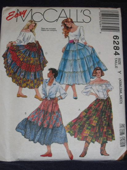 McCalls 6284 Easy Broomstick skirt Size XS,S,M uncut hippie/boho FREE US SHIPPING