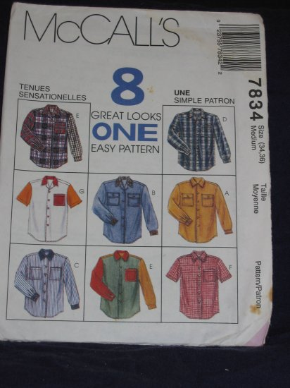 Mens shirts McCalls 7834 Size Medium 34/36 Great for Western or Rockabilly FREE US SHIPPING