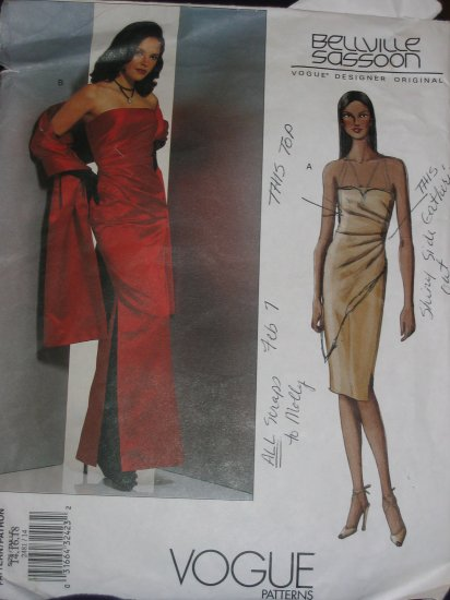 Vogue 2481 Bellville Sassoon Long Boned Gown and Stole Size 14 FREE US SHIPPING