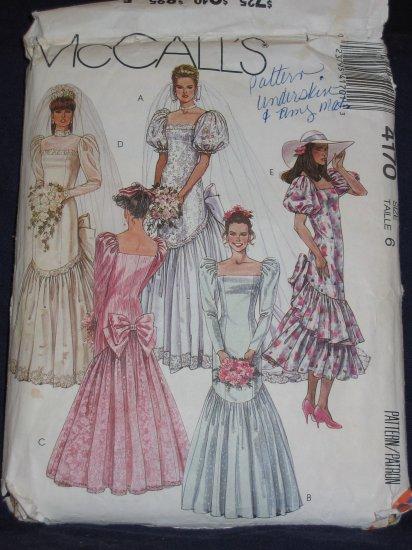 1989 Uncut/Out of Print Mermaid WEDDING DRESS pattern McCalls 4170 size 6 FREE US SHIPPING