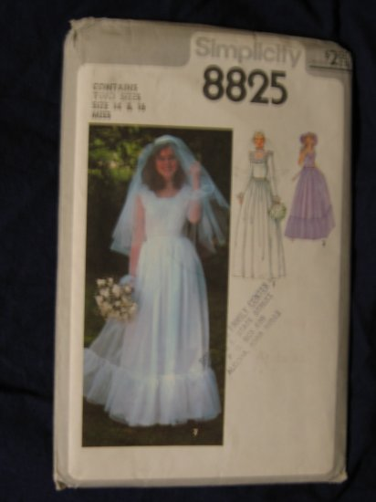1978 VTG UNCUT out of print WEDDING DRESS pattern Simplicity 8825 sz 14/16 FREE US SHIPPING