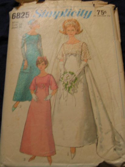 1966 WEDDING DRESS pattern Simplicity 6825 Size 16 out of print FREE US SHIPPING