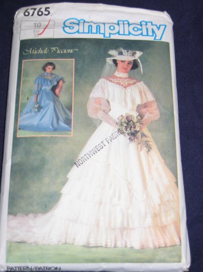 """1984 """"Southern Belle"""" WEDDING DRESS pattern Simplicity 6765 size 10 out of print FREE US SHIPPING"""