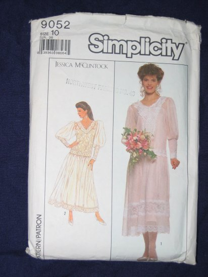 1989 Jessica McClintock dress pattern Simplicity 9052 size 10 out of print FREE US SHIPPING