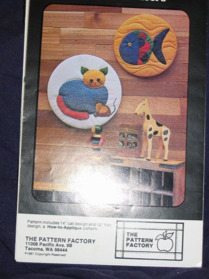 """VTG pattern """"Cat"""" and """"Fish"""" hoops or use as quilt square uncut out of print FREE US SHIPPING"""