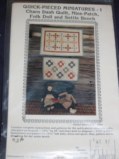 VTG mini quilt/ folk dolls pattern quick-pieced, wood settle bench pattern included FREE US SHIPPING