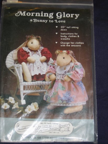 """VTG 20"""" Bunny Doll Pattern 1987 uncut bunny and clothes patterns included FREE US SHIPPING"""