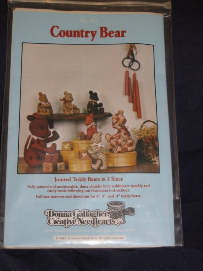 """1983 VTG jointed bears soft doll pattern uncut 6"""" 9"""" 11"""" bears FREE US SHIPPING"""