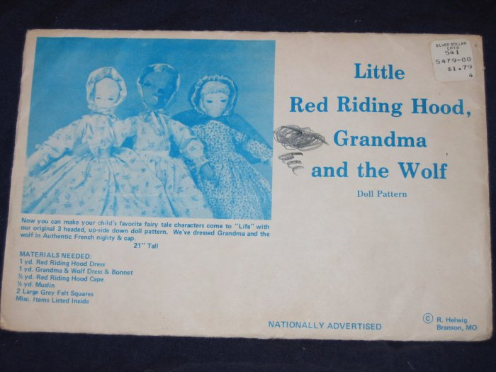 1974 uncut Riding Hood/Grandma/ Wolf upside down doll pattern, Branson, Mo FREE US SHIPPING