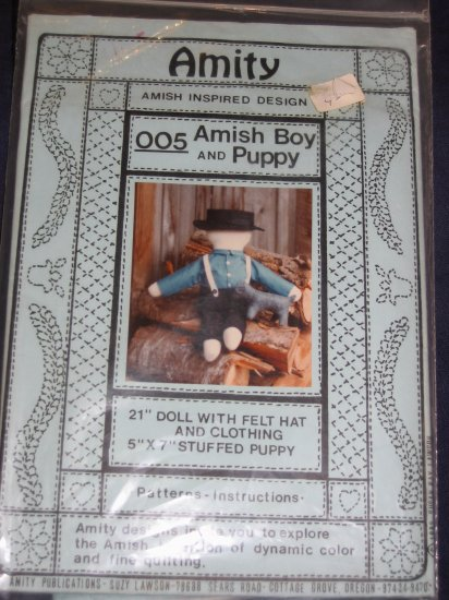 "VTG ""Amity"" amish boy and puppy uncut pattren 21"" soft doll FREE US SHIPPING"