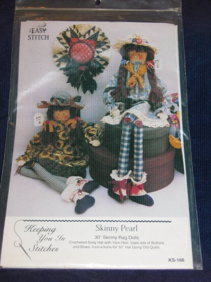 "VTG 30"" rag dolls pattern uncut ""Skinny Pearl"" FREE US SHIPPING"