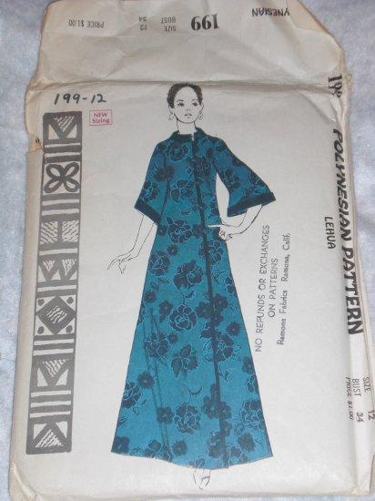 VTG Polynesian/Hawaiian dress pattern uncut out of print size 12 FREE US SHIPPING