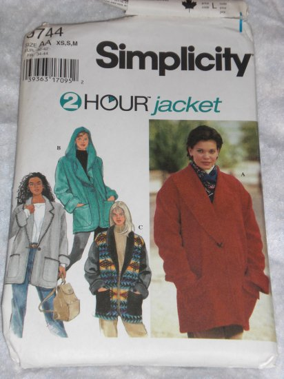 Simplicity 9744 2 hour fleece jacket uncut size xs/s/m FREE US SHIPPING