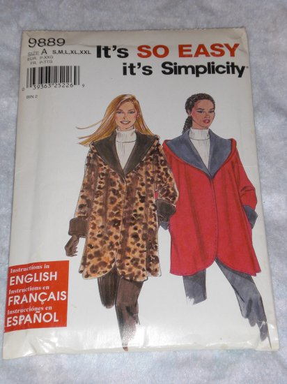Simplicity 9889 jacket pattern, perfect for fleece Size XL FREE US SHIPPING