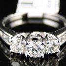 14K White Gold Ladies 3 Stone Round Diamond Engagement Wedding Band Ring 1 Ct