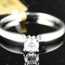 14K LADIES WHITE GOLD SOLITAIRE ROUND CUT DIAMOND BRIDAL ENGAGEMENT WEDDING RING