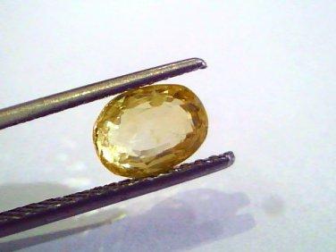 2.62 Ct Unheated Untreated Natural Ceylon Yellow Sapphire AAAAA